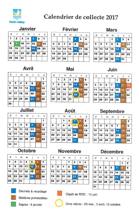 Calendrier 2017 des matières résiduelles